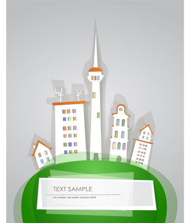city on the hill background with space for text Vector