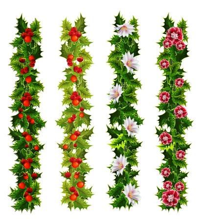 hulst en bloemen Kerstmis decoratieve riemen Vector Illustratie