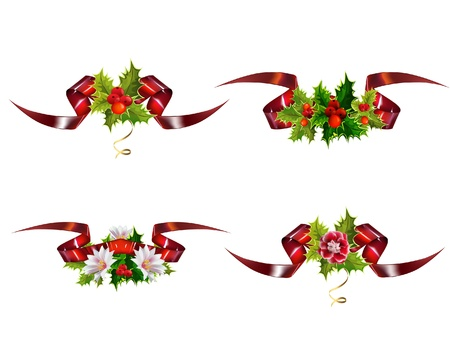 pine wreath: Christmas design elements with holly and glossy ribbons