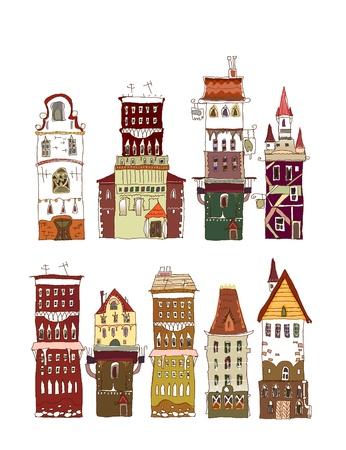 megalopolis: set of tall buildings Illustration