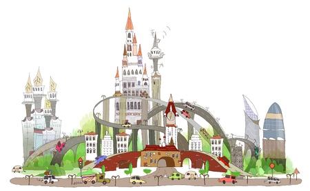 거대 도시의 그림 일러스트