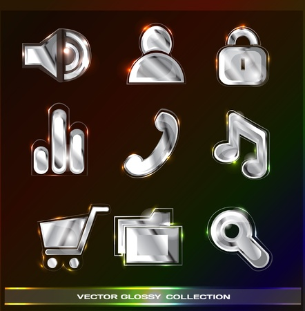 glossy icons (silver set) Vector