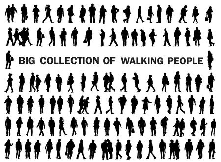 human figures: silhouettes of walkin peole, caring bags, luggade, shopping