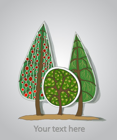 background with trees Stock Vector - 11324533