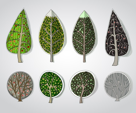 green leafs: set of trees Illustration