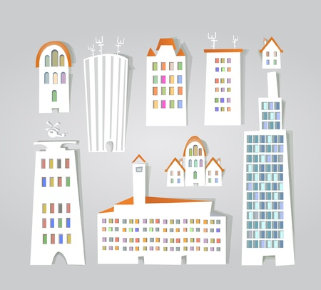 city buildings stickers set Stock Vector - 11324530