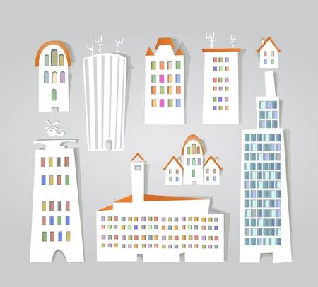 city buildings stickers set Stock Vector - 11324530