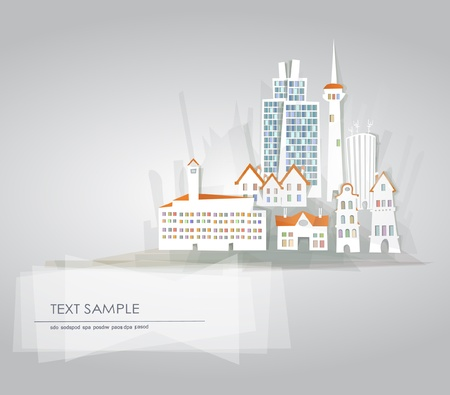 city with hi-rising and industrial buildings Vector