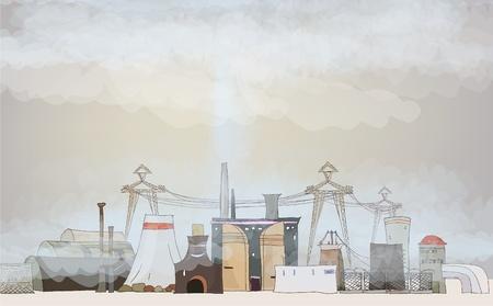 mundo contaminado: ambiente contaminado de la industria pesada