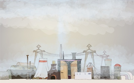 polluted enviroment of heavy industry Vector