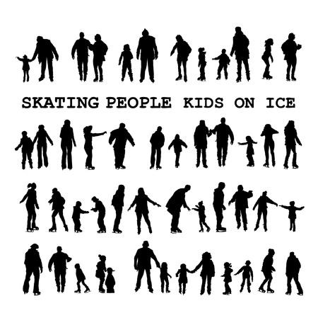Patinaje siluetas de personas sobre la pista de hielo
