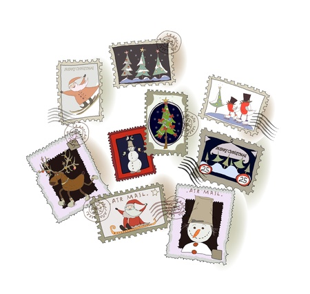 Christmas post stamps Vector