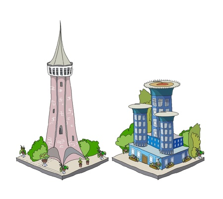 iconos de la ciudad Ilustración de vector