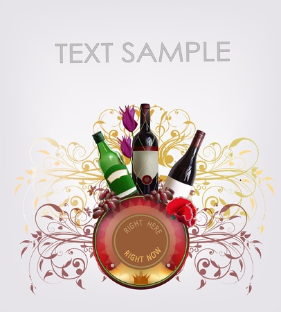winery background with bottles and label Vector