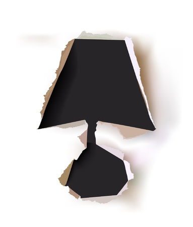 broke: paper background with ripped symbol of lamp  Illustration