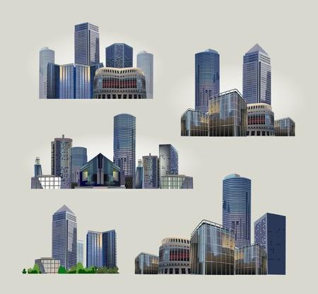ensemble de vues sur la ville moderne