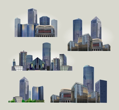 set of modern city views Vector