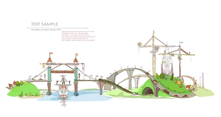 web design bridge: city, building site, river and bridges  Illustration