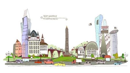 web design bridge: conjested city background  Illustration