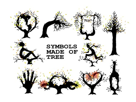 symbols set made of trees Illustration