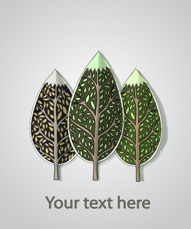 leafs: abstract trees background  Illustration