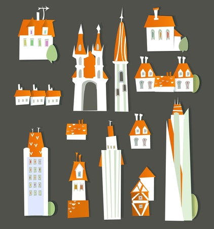 buildings of white city Stock Vector - 11655877