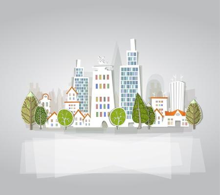 사무실 건물: 도시 배경 일러스트