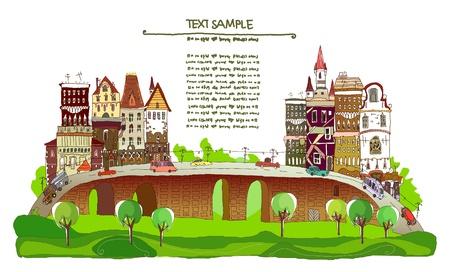 web design bridge: city background