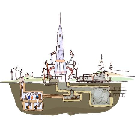 satellite launch: launch of space ship illustration Illustration