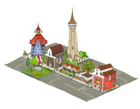 建物のアイコンから成っている都市通り