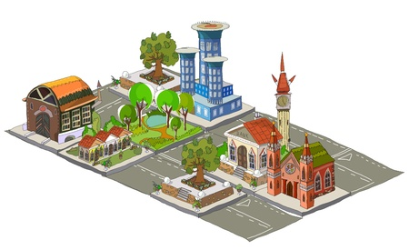 city street made of building icons Vector