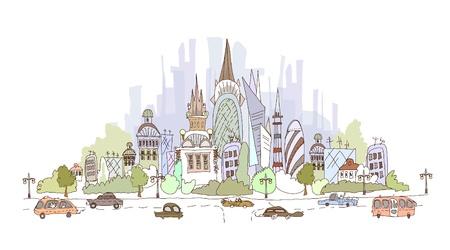 web design bridge: city illustration