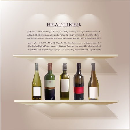 wine shelf Vector