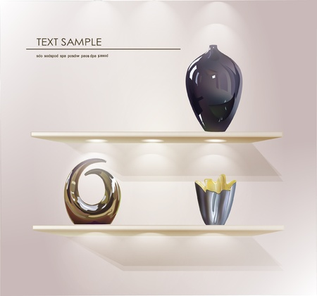gallery interior: shelfs for your product (vases)