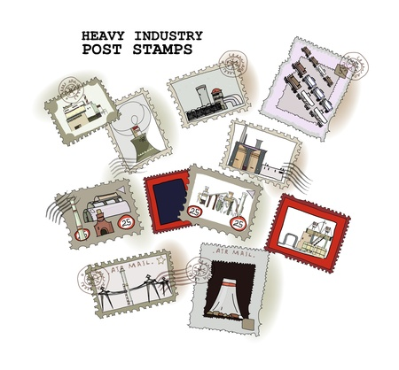 railway engine: post stamps Industrial set Illustration