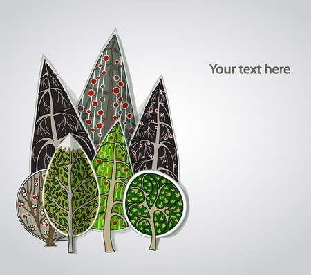 Trees stickers background