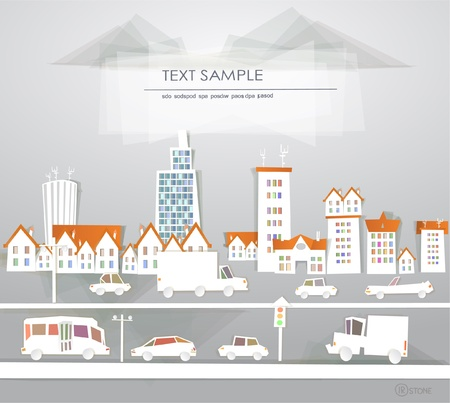 'White city' collection City and roads Vector