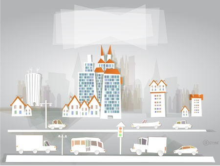 White city collection City and roads Vector