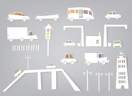 White city collection Traffic set Illustration