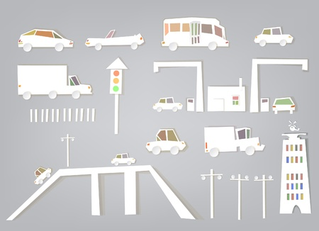 White city collection Traffic set Vector