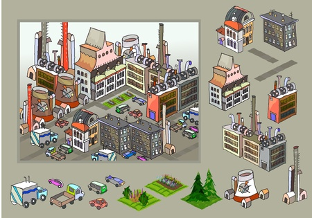 factory aria made of detailed icons Vector
