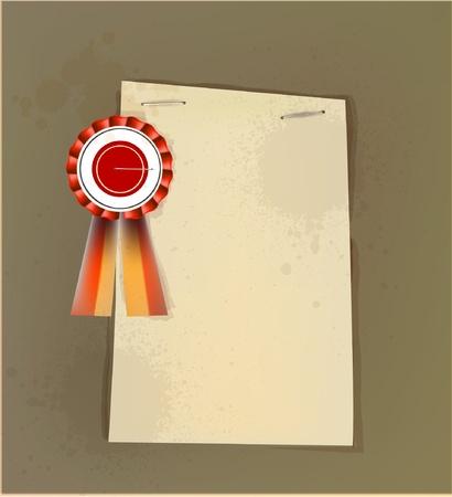 stapler: paper background with label Illustration