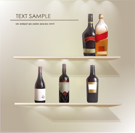 store shelves with wine bottles Vector