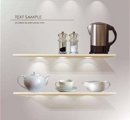 wooden shelves: store shelves with kitchen ware Illustration