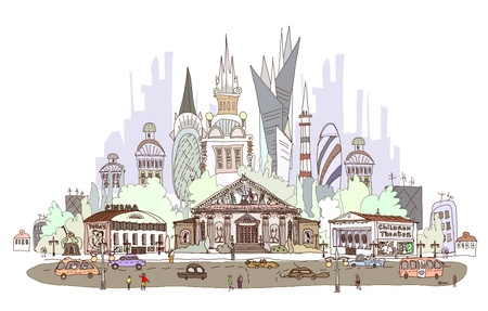 town square: old city square and modern architecture on the back Illustration