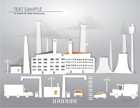 industrial view and traffic  White city collection Vector