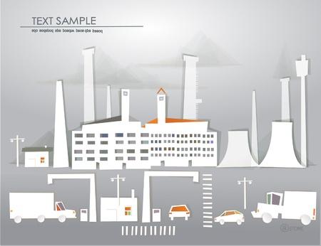 """icono contaminacion: punto de vista industrial y el tr�fico de la colecci�n """"Ciudad Blanca"""" Vectores"""