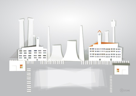 industrial view 'White city' collection Vector