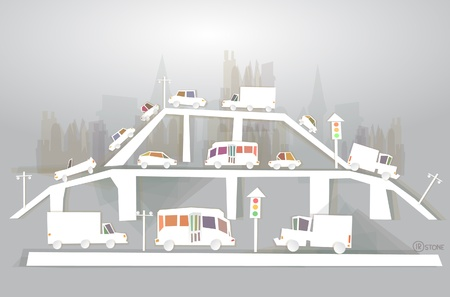 """silhouette voiture: Le trafic sur le carrefour, pont, le trafic """"White ville"""" collection"""