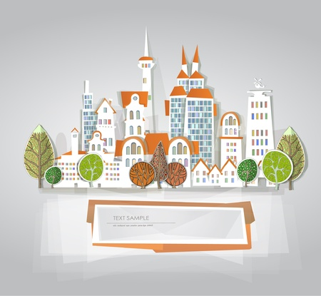 building lot: city background White city collection Illustration